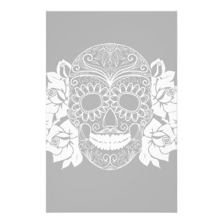 Skull And Roses, Black And White Day Of The Dead Stationery Paper
