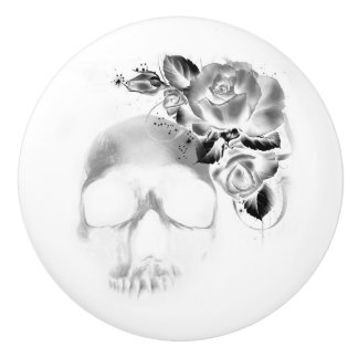Skull and roses ceramic knob