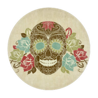 Skull And Roses, Colorful Day Of The Dead Card 2 Cutting Board