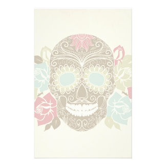 Skull And Roses, Colorful Day Of The Dead Card 2 Personalized Stationery