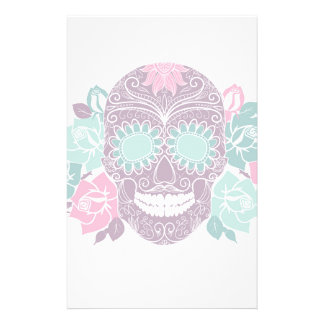 Skull And Roses, Colorful Day Of The Dead Card 3 Customized Stationery
