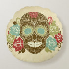 Skull And Roses, Colourful Day Of The Dead Card 2 Round Cushion