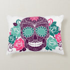 Skull And Roses, Colourful Day Of The Dead Card 3 Decorative Cushion