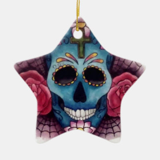 skull and roses ceramic star decoration