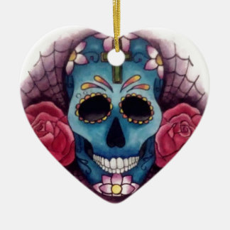 skull and roses christmas tree ornament