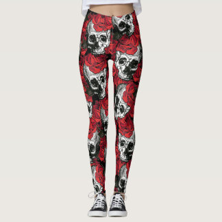 skull and roses leggings