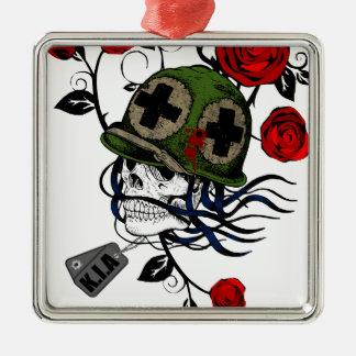 Skull And Roses Metal Ornament