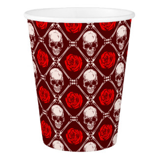 skull and roses paper cup