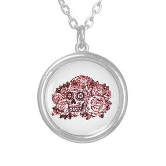 Skull and Roses Silver Plated Necklace