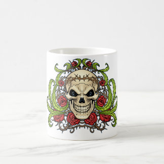 Skull and Roses with Crown Of Thorns by Al Rio Mugs