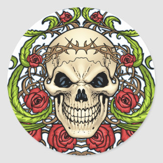 Skull and Roses with Crown Of Thorns by Al Rio Round Sticker