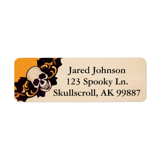 Skull and Scroll Halloween Address Labels