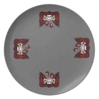 skull and skates party plate