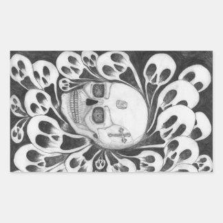Skull and souls images rectangular sticker