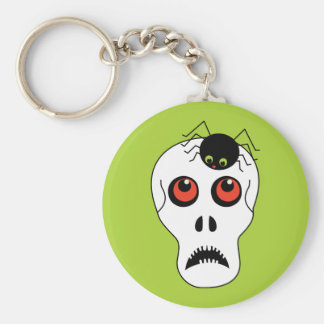Skull and Spider Halloween Basic Round Button Key Ring