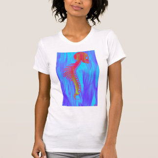 Skull and Spine With Tribal Barbs-Indiglo Marbled T-Shirt