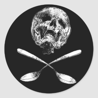 Skull and Spoons Round Sticker