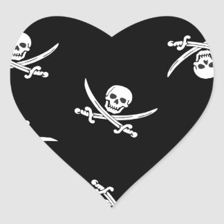 Skull and sword heart sticker
