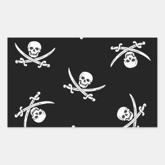 Skull and sword rectangular sticker