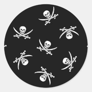 Skull and sword round sticker