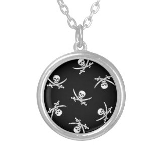 Skull and sword silver plated necklace
