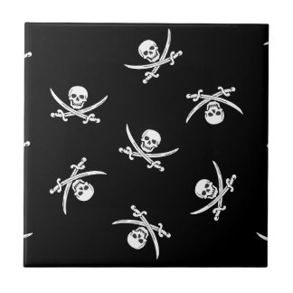 Skull and sword small square tile