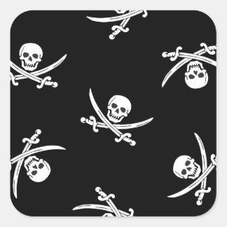 Skull and sword square sticker