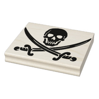 Skull and swords silhouette art stamp
