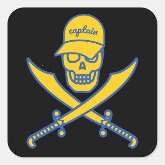 Skull and swords square sticker