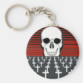 Skull And Tombs Basic Round Button Key Ring