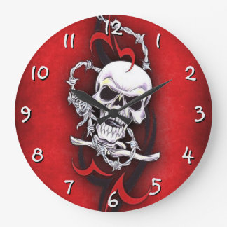 Skull And Tribal Tattoo Clock