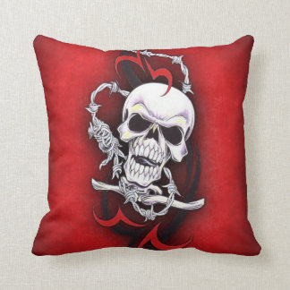 Skull And Tribal Tattoo Throw Pillow