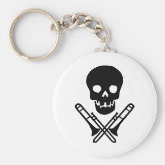 skull and trombones basic round button key ring