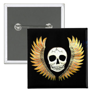 Skull and Wings 15 Cm Square Badge