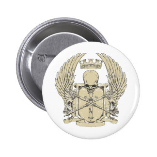 skull and wings customizable design pinback buttons