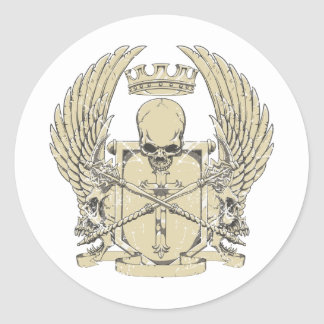 skull and wings customizable design round sticker