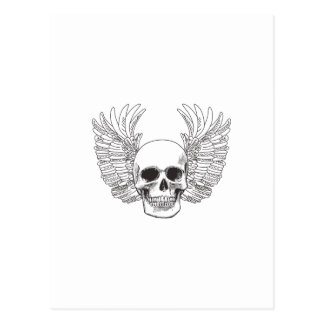 SKULL AND WINGS OPEN POSTCARD