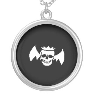 Skull and Wings Round Pendant Necklace
