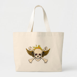 Skull and Wings with Crossbones and Fire Jumbo Tote Bag