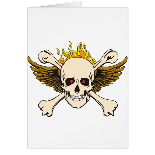 Skull and Wings with Crossbones and Fire Card