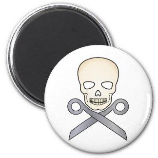 Skull and X-Scissors 6 Cm Round Magnet