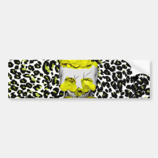 Skull and Yellow Flowers on Leopard Print Bumper Sticker