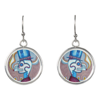 Skull Art Smoking at Monte Alban Earrings