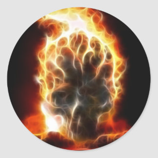 Skull Atomic Bomb Round Sticker