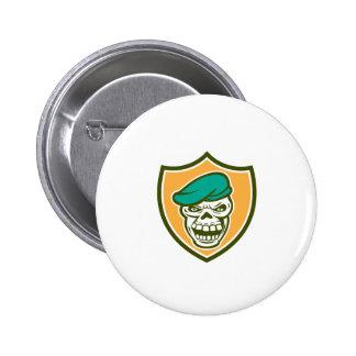 Skull Beret Shield Retro Pinback Buttons