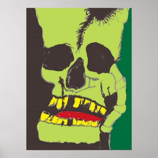 Skull Black and Green Poster