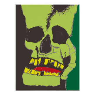 Skull Black and Green Print