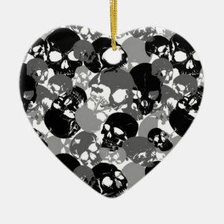 Skull Black&White Ceramic Ornament