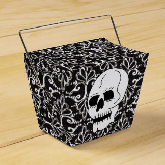 Skull Black White Damask Scrolls Favour Box