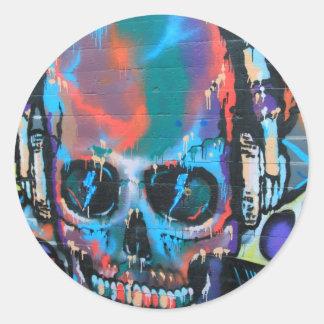 Skull blue music Graffiti street art urban goth Round Sticker